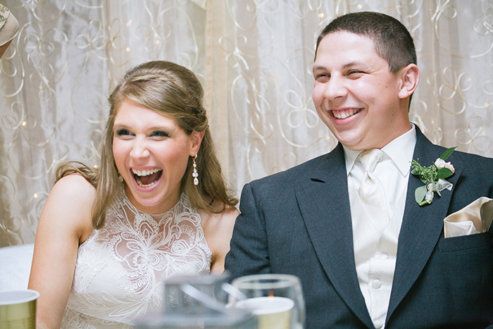 Cute reception photo of the bride and groom