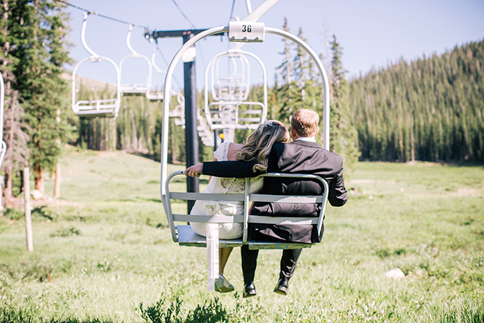 Cute elopement with a ski lift