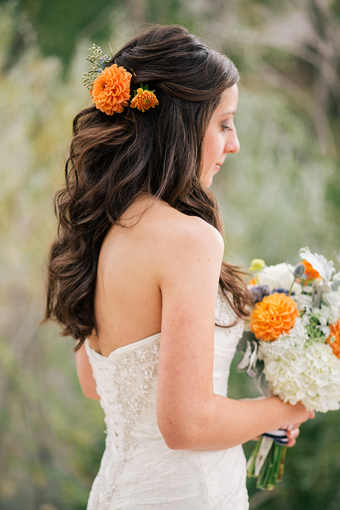 Gorgeous half up hair with flower