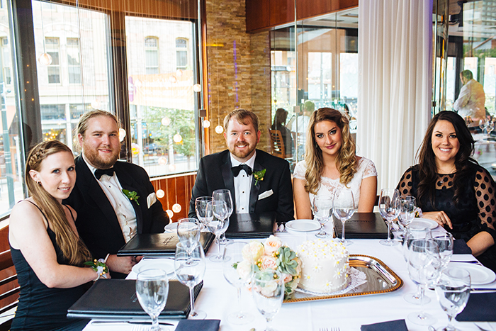 Intimate wedding elopement with their bridal party