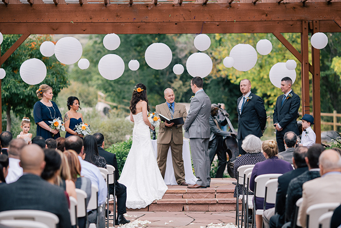 Simple outdoor fall wedding ceremony
