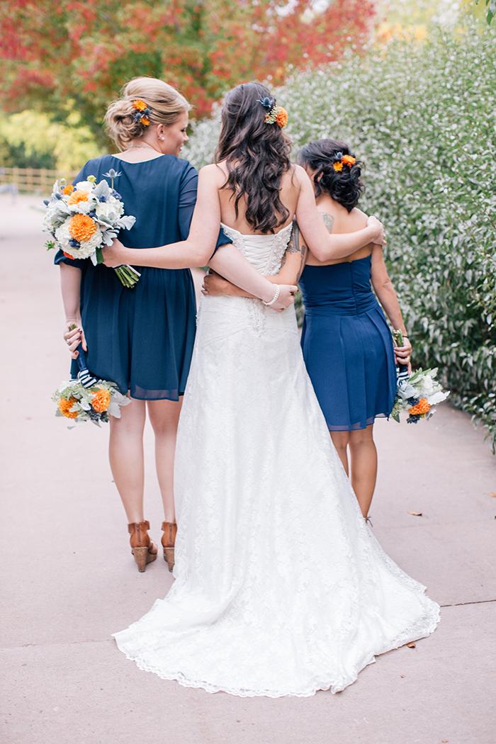 Blue and orange bridesmaids