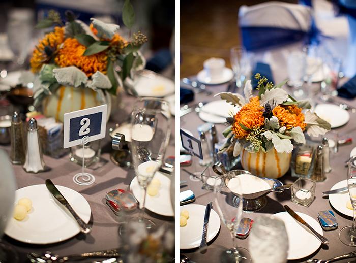 Fall wedding pumpkin centerpieces! Cute!