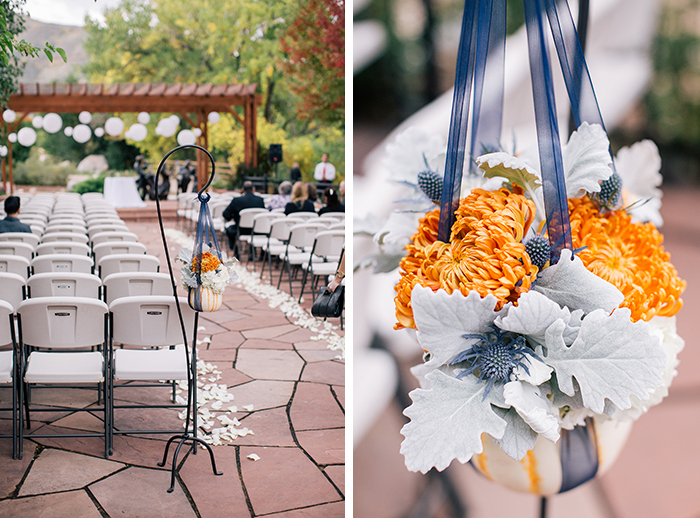 Beautiful orange and blue wedding ceremony decor
