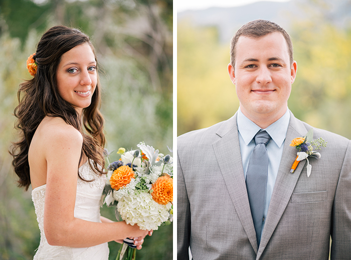 Gorgeous bride and groom with orange details