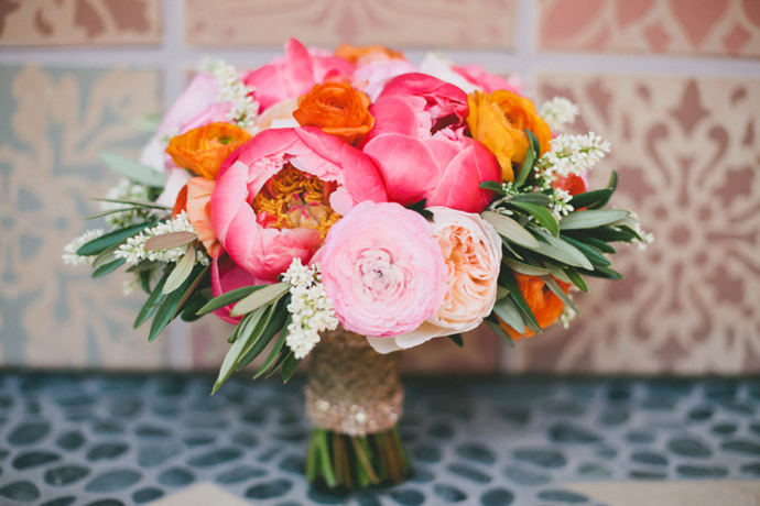 Lovely pink and orange wedding bouquet
