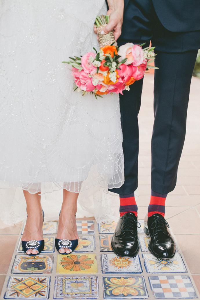 Stunning pink and orange wedding bouquet