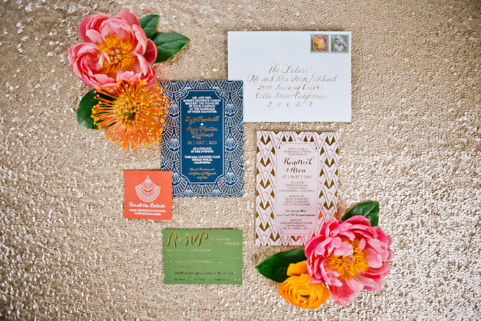 Stunning and colorful art deco wedding invitations