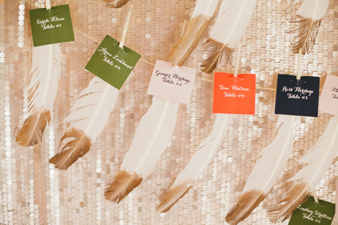Feather wedding seating chart idea. Too cute!