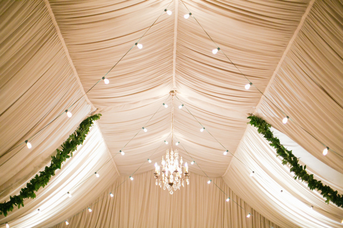Gorgeous tented wedding decor and lighting