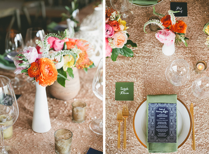 Gold sequined tablecloth and milk glass centerpieces. Gorgeous!