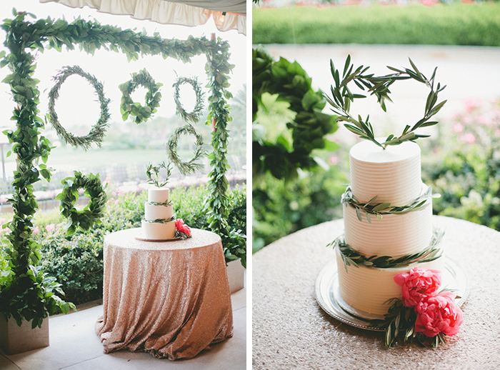 Beautiful simple wedding cake with olive leaves