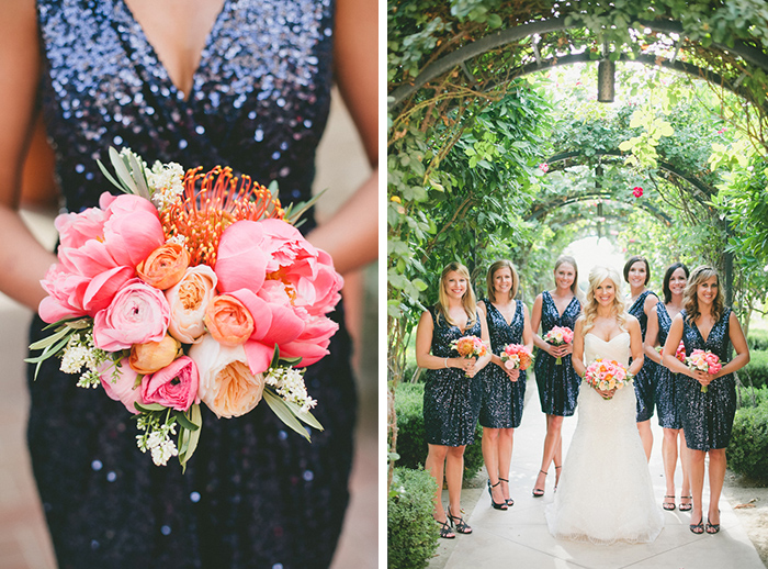 Navy blue sequined bridesmaid dresses
