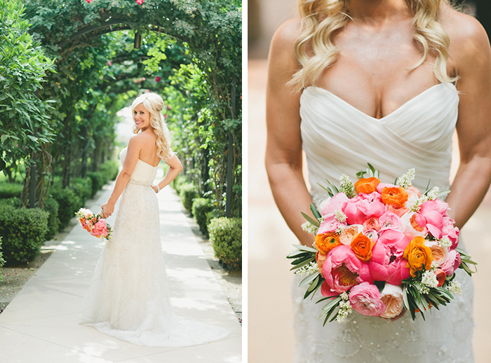 The bride in a stunning beaded wedding dress