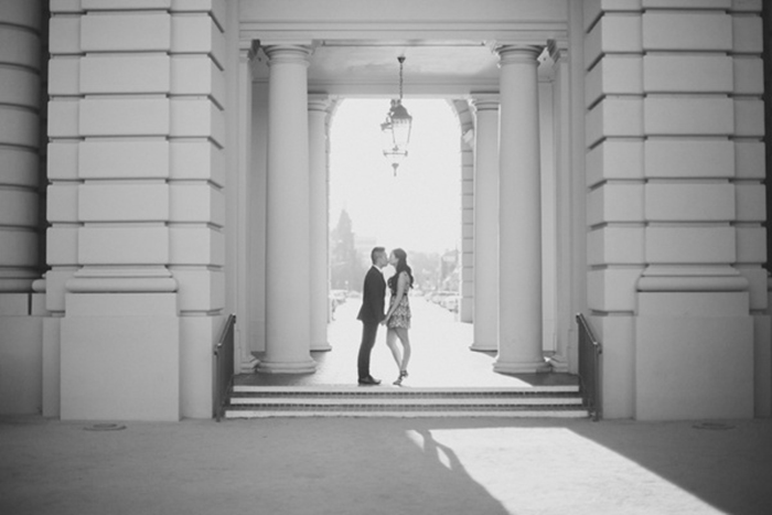 Timeless formal city hall engagement photography