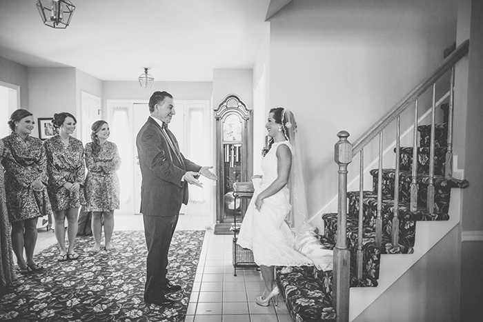 The bride and her father first look