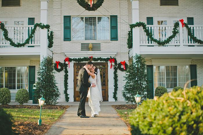 Beautiful wintry wedding first look
