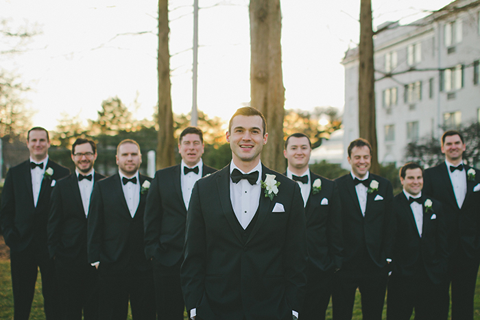 Dapper classic groomsmen in tuxes