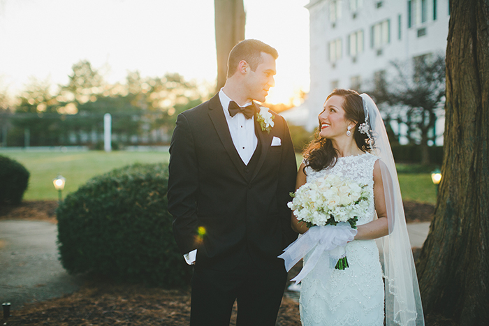 A classically elegant winter bride and groom