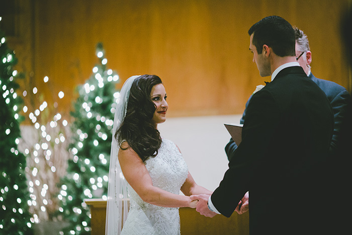Beautiful classic winter wedding ceremony