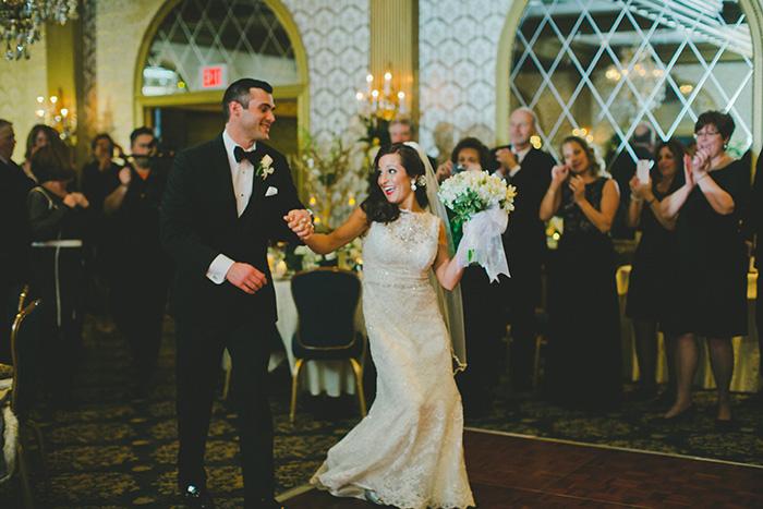 Gorgeous vintage winter hotel wedding reception