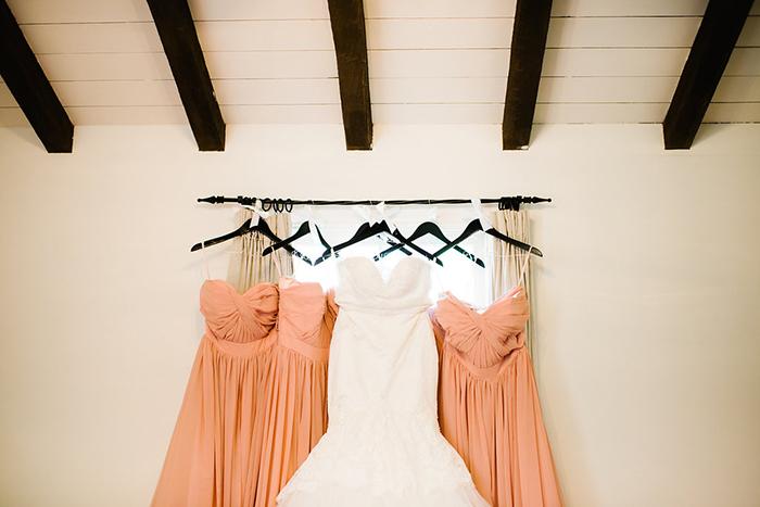 Peach pink bridesmaid dresses