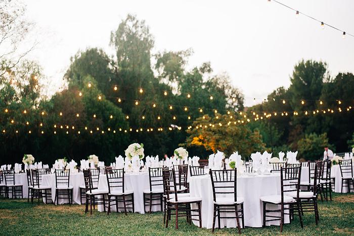 Beautiful luxurious outdoor wedding reception