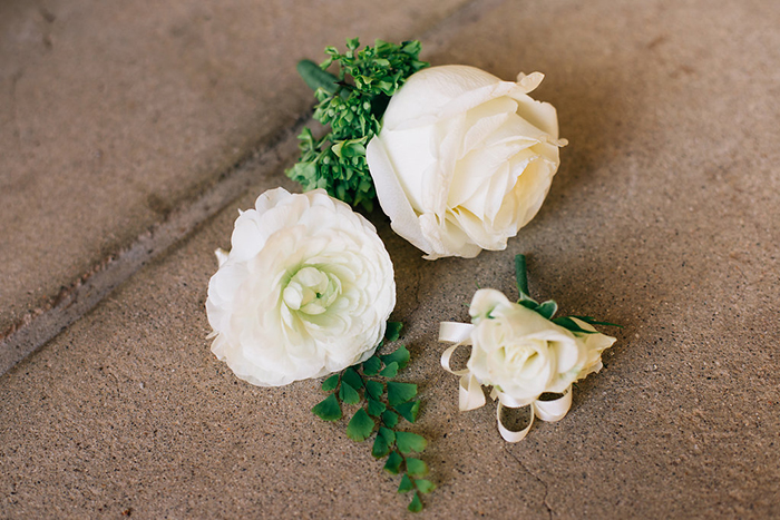 Simple white and green boutonniere