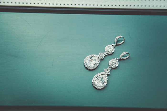 Simple crystal drop earrings for the bride