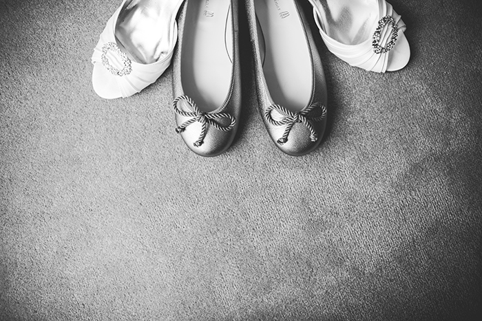 The bride's wedding day shoes and flats