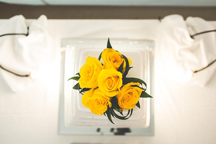 Yellow rose wedding cake topper