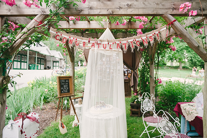 Rustic red outdoor wedding with a tandem bike!