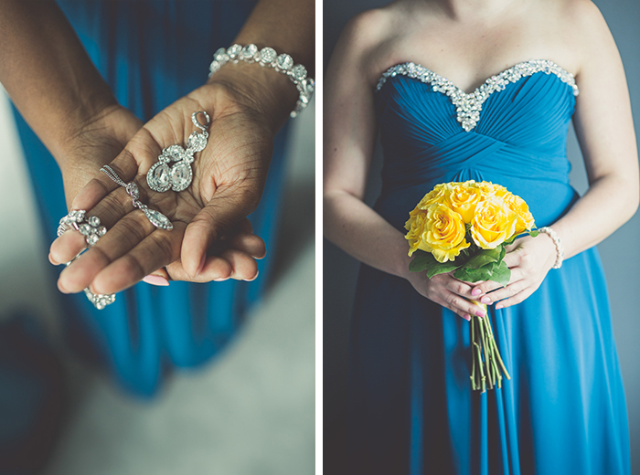 Bridesmaids with blue and yellow