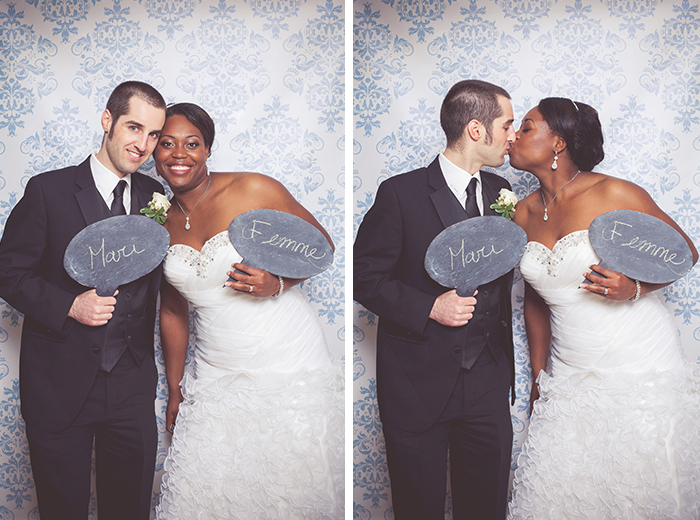 fun bride and groom photobooth