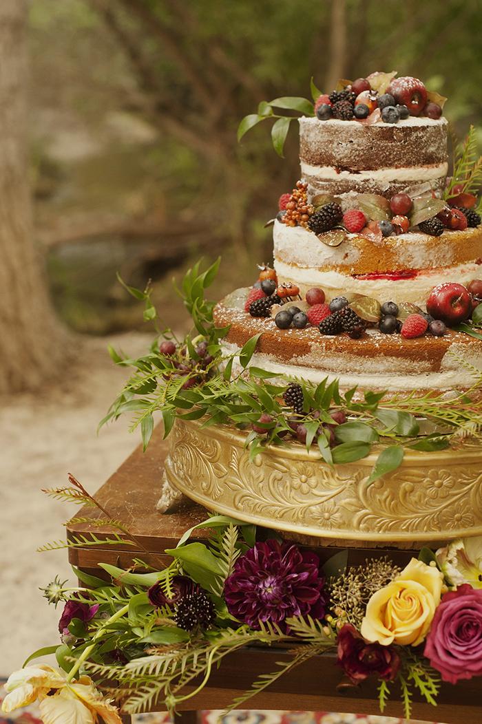 Beautiful fresh fruit naked wedding cake