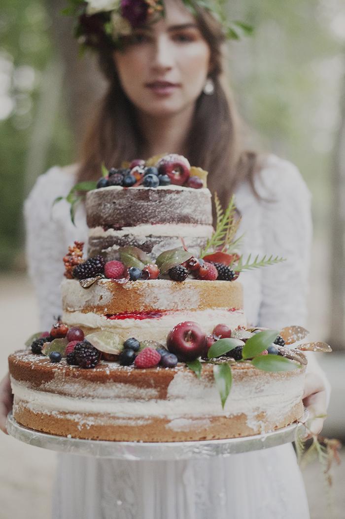 Fresh fruit naked wedding cake