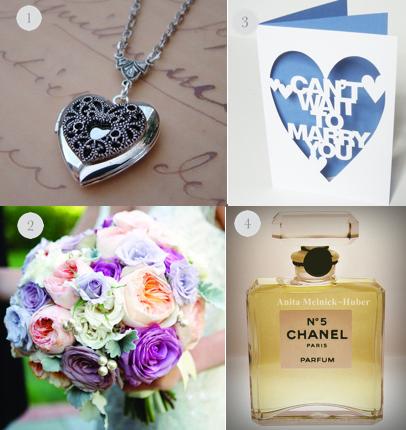 gift for bride, wedding card for bride, chanel perfume, locket for bride, bridal bouquet, wedding party blog