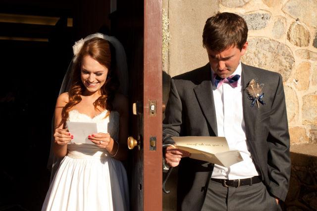 love letters, couple reading love letters before wedding, happy couple before wedding, wedding party blog