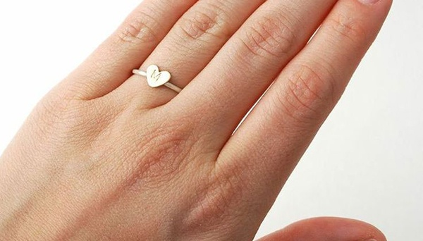 promise ring, couple, engagement, ring, his and hers rings, love, heart ring, initial ring