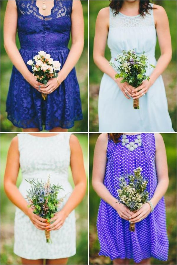 blue mismatched bridesmaids dresses