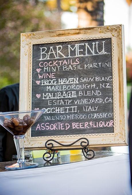 wedding bar menu