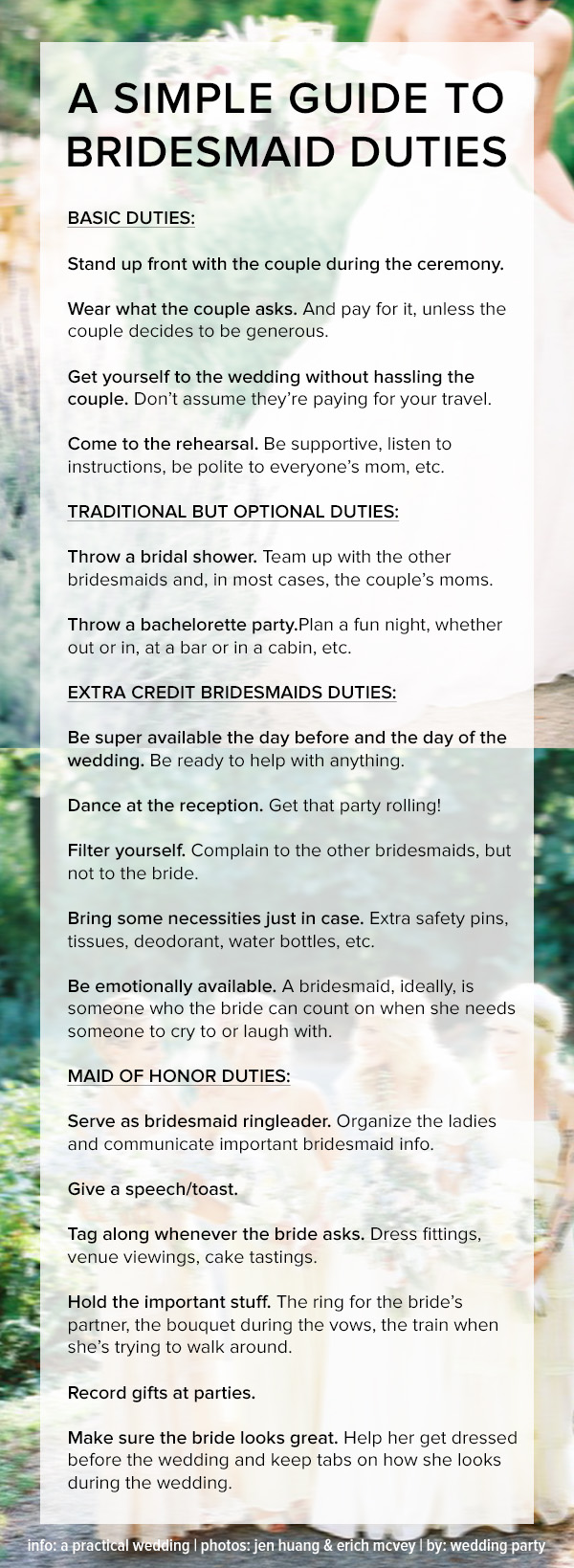 guide to bridesmaids duties etiquette infographic
