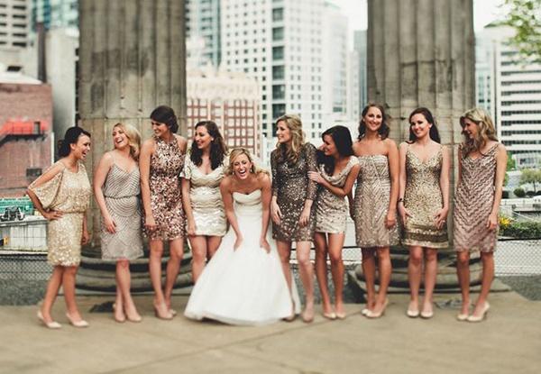 Rose Gold Bridesmaids Dresses A Unique Bridal Party Look Wedpics Blog