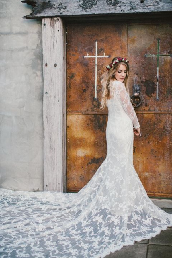Long Sleeved Wedding Dresses 45 Glam