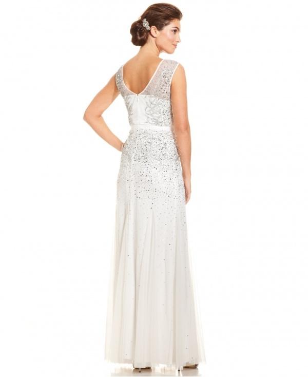 Gorgeous illusion neckline jeweled wedding dress under $500