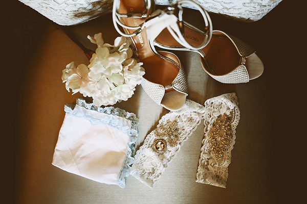 A photo of all the bride's accessories for the wedding day.