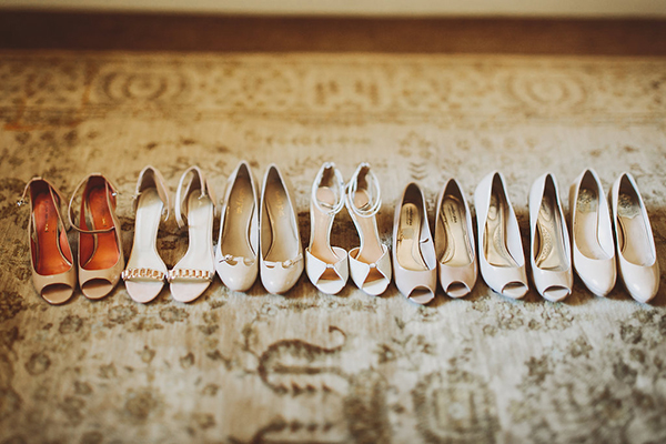 Bridesmaid's and bride's shoes in shades of neutral