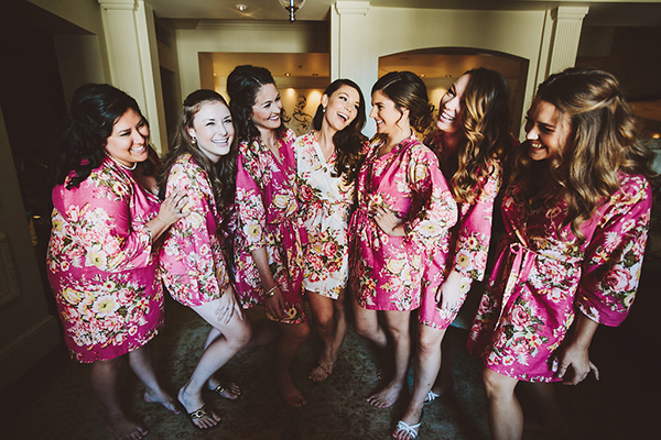 Sweet pink robes for the bride and bridesmaids getting ready