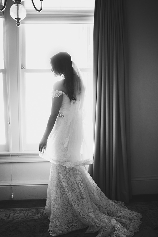 Beautiful photo of the bride before the first look