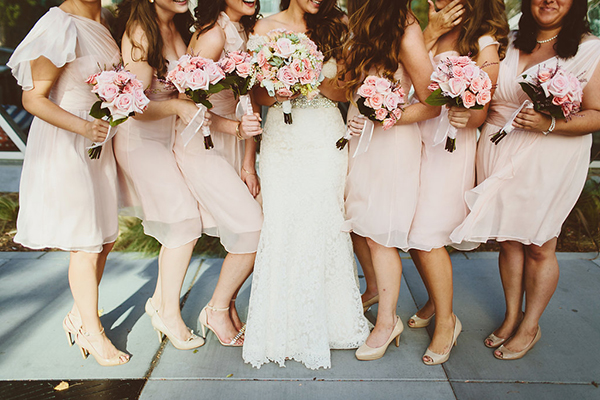 Sweet pink mismatched bridesmaids dresses. So pretty!